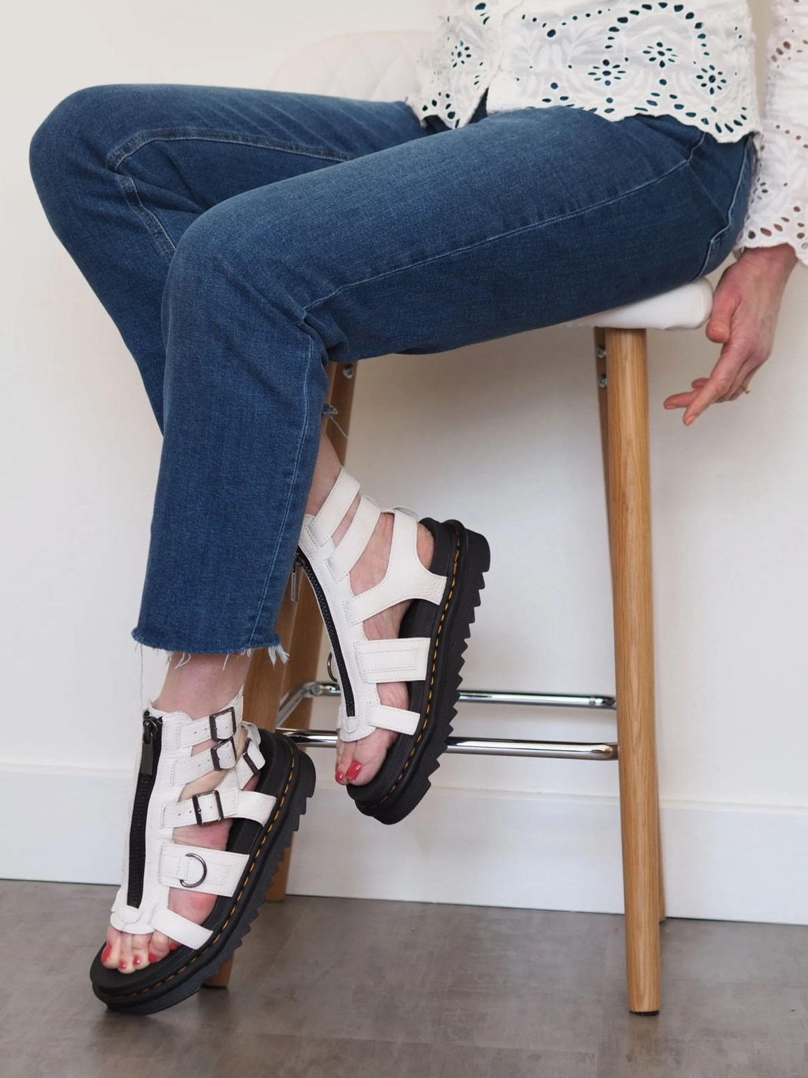 white leather Dr Marten sandals