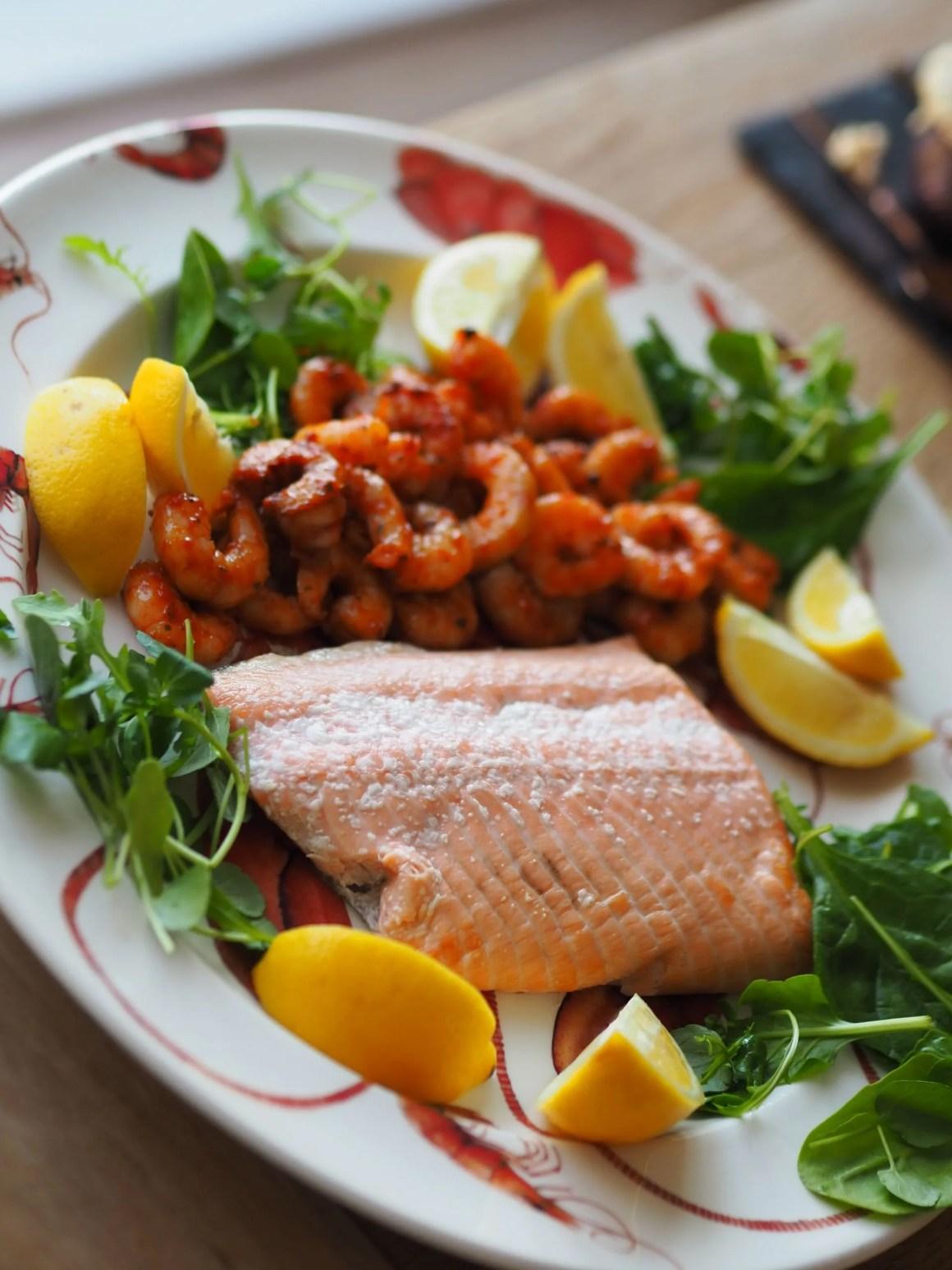salmon and prawns