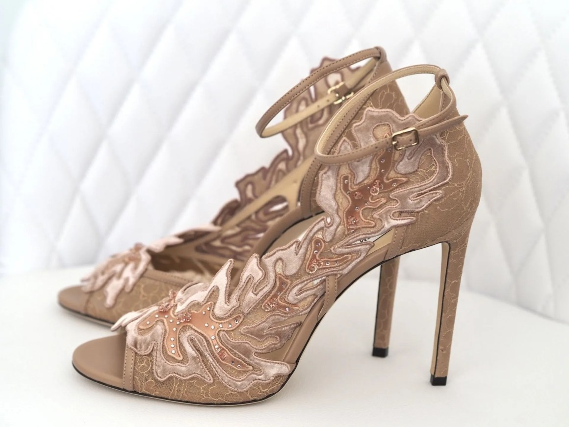Lucele by Jimmy Choo nude lace high heeled wedding shoes