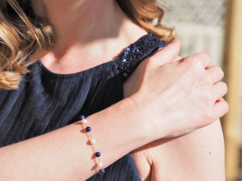 freshwater pearl and lapis lazuli bracelet