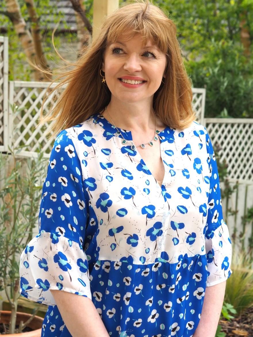 cobalt blue poppy print cupro beach dress
