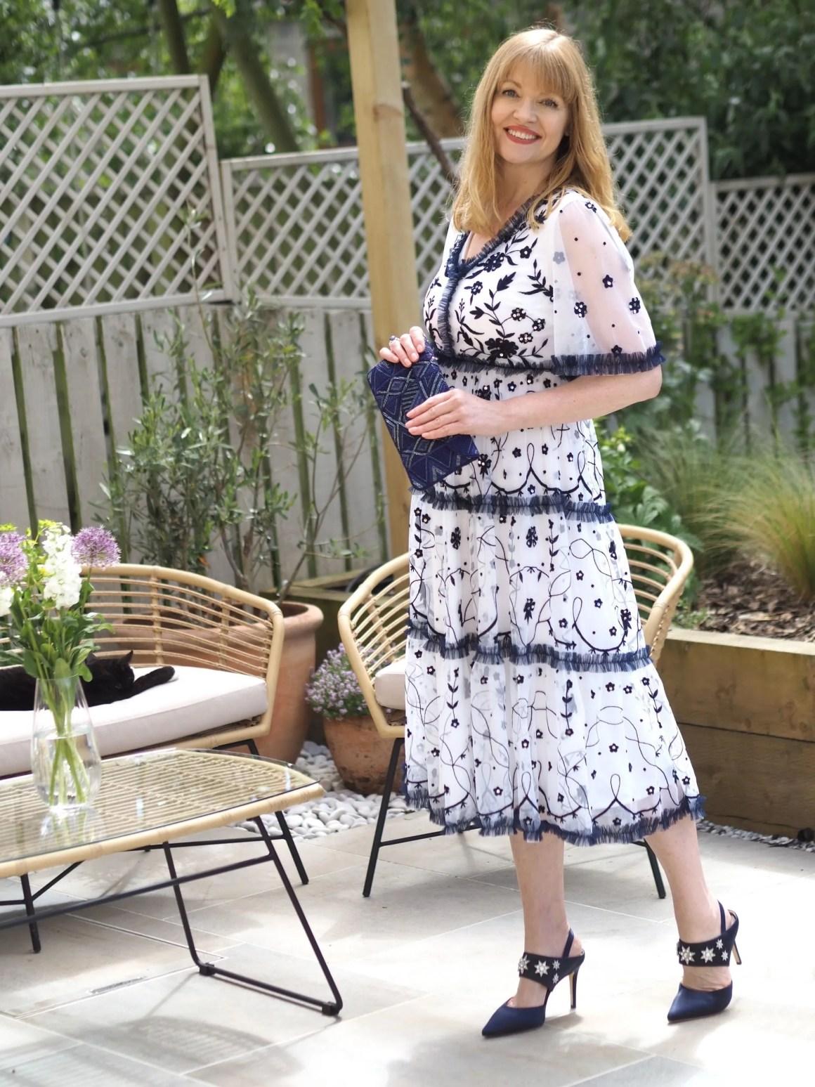 white and blue embellished dress