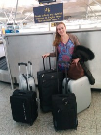 Finally arrived at London Stansted (what you don't see: the other 3 boxes we sent over before we left ;))