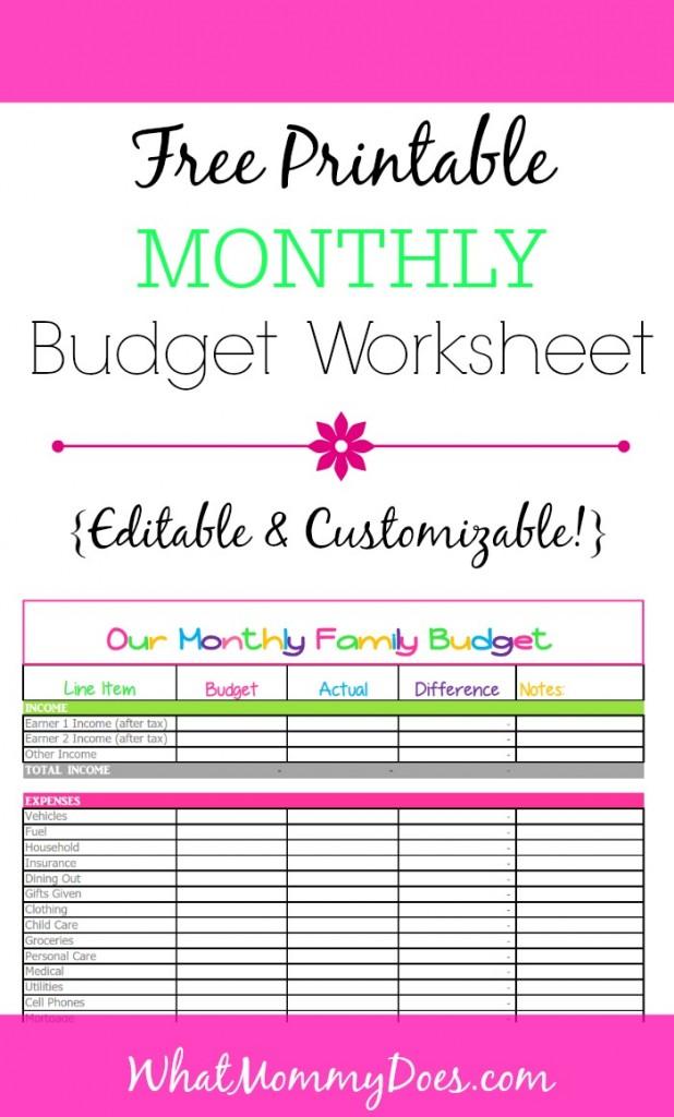 Budget Easy Worksheet Beginners