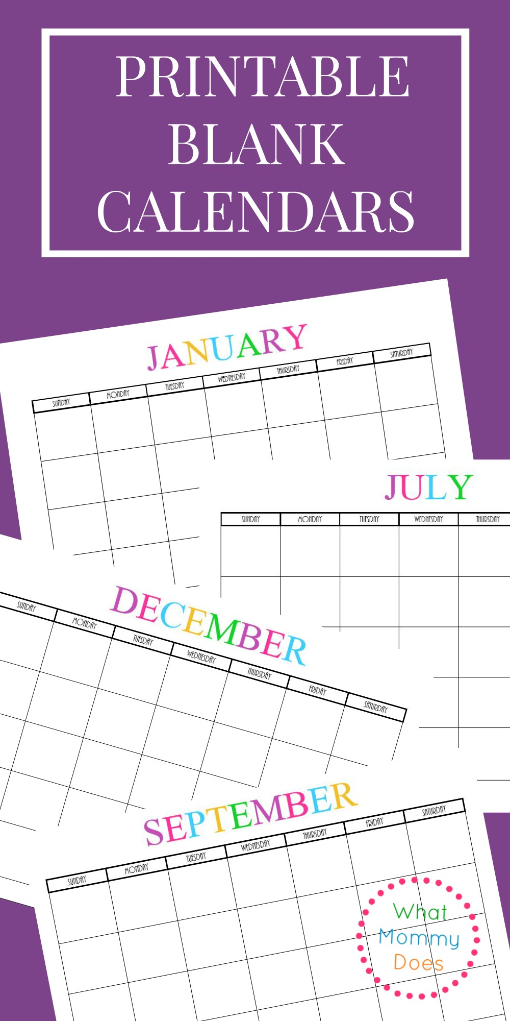 Free Printable Blank Monthly Calendars - 2019, 2020, 2021 ...