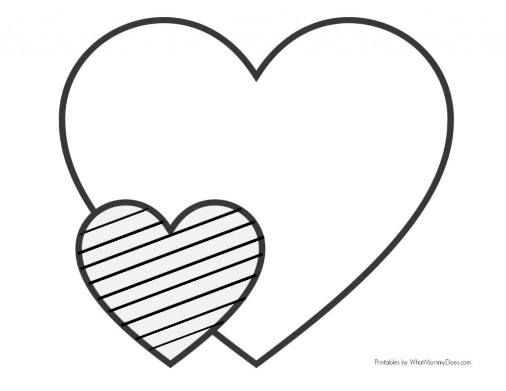Easy Heart Coloring Pages for Kids {Stripe Patterns