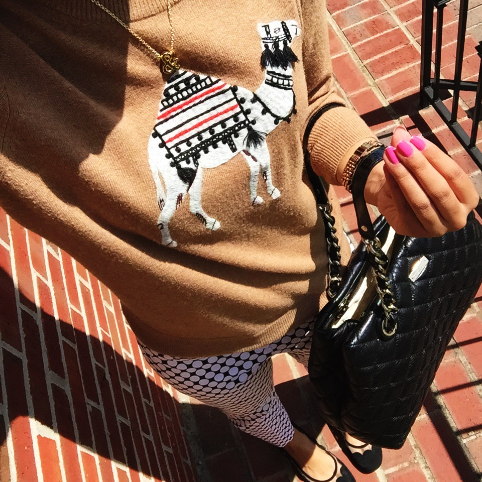 j crew factory sweater + new york and company pants + scalloped flats + kate spade new york handbag + nail polish