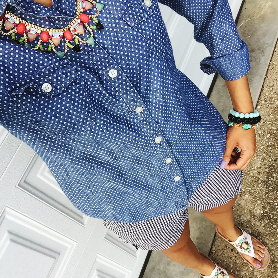 old navy polka dot chambray shirt + loft gingham short {old, thrifted} + clarks sandals + perry street necklace c/o rocksbox