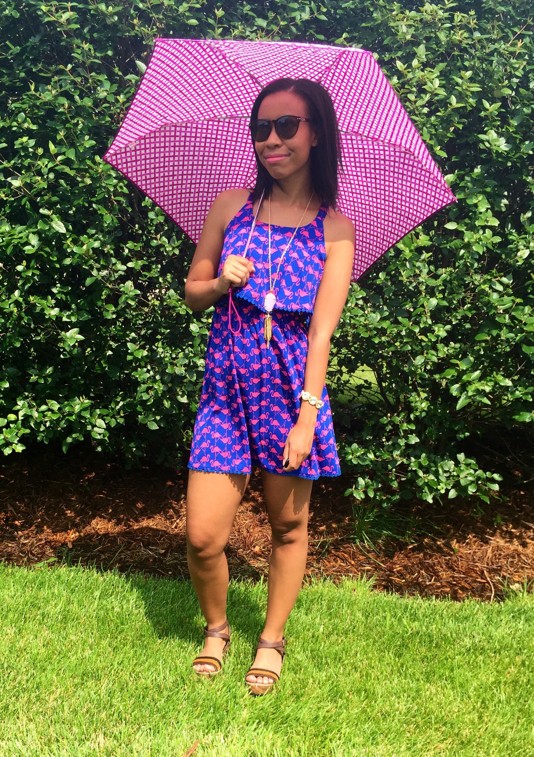 vera bradley umbrella {sold out, different colors} + hm sunglasses + midnight girls tassel necklace via living social + target girls dress {similar in women's size} + versona bracelet + target style wedges {old, similar}