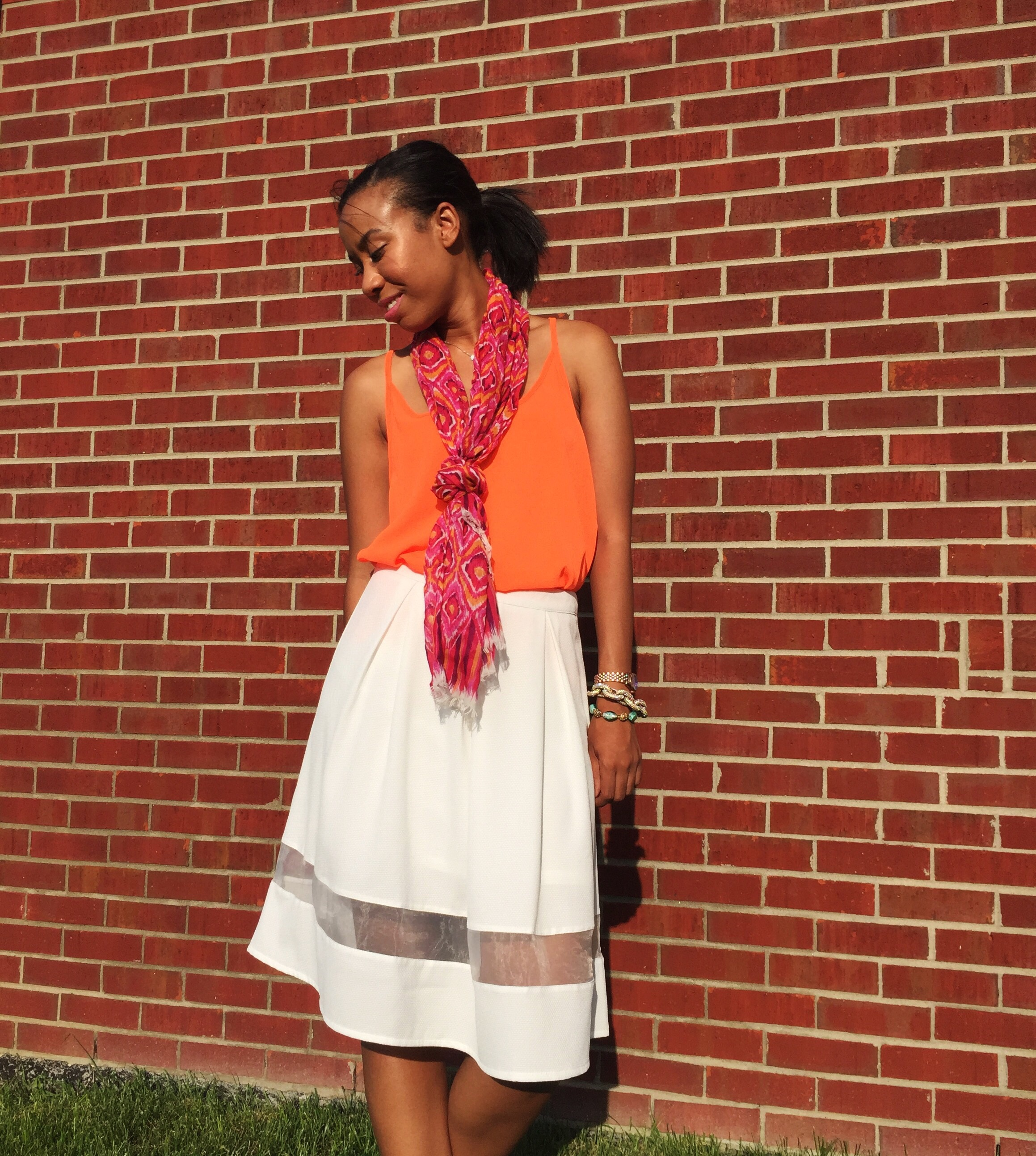 scallop tank c/o adorn apparel + cut it out skirt c/o adorn apparel + vera bradley soft fringe scarf in clementine {sold out, other colors} +