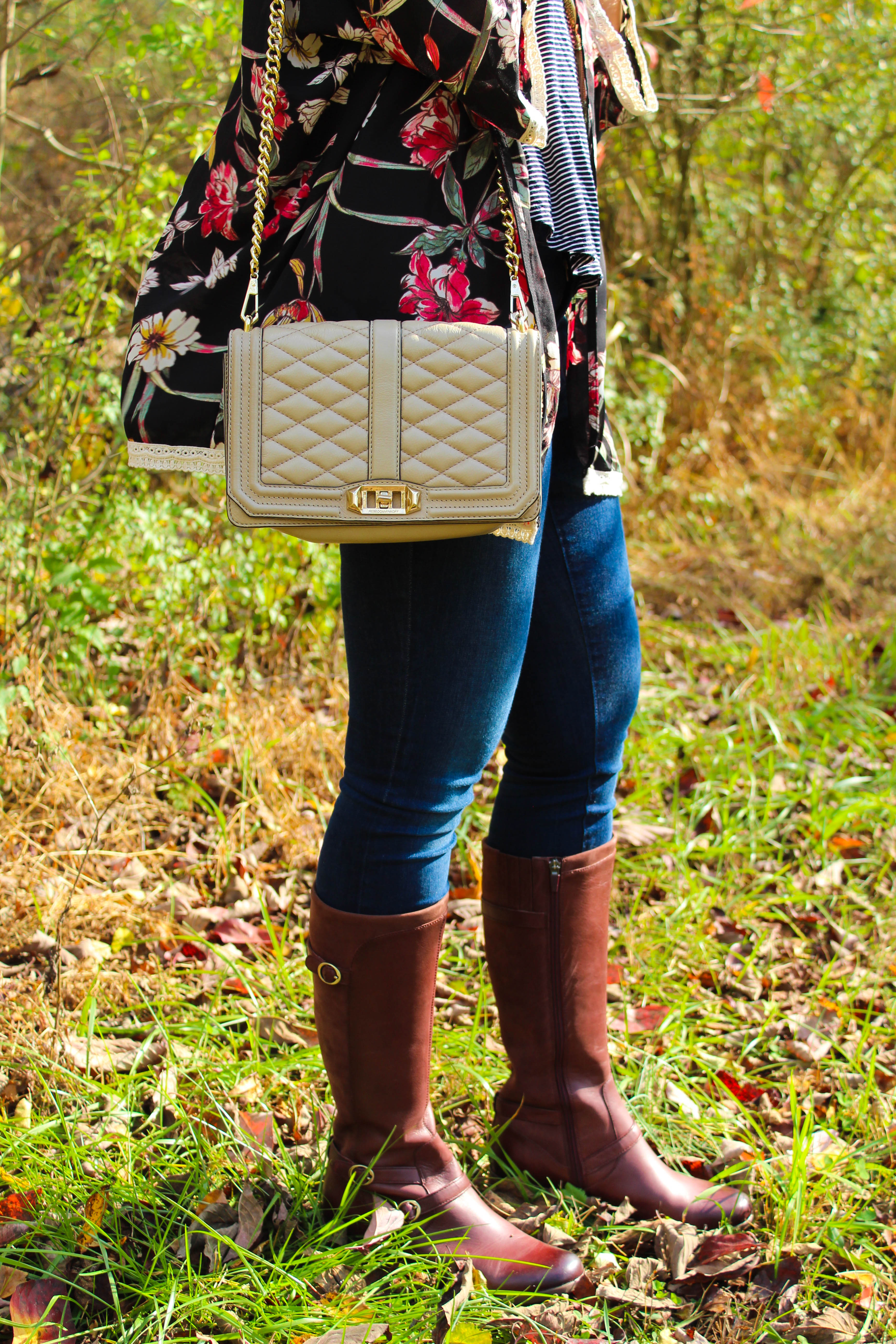 As fall comes to an end Kentucky style blogger, What Nicole Wore, shares an easy fall to winter transition outfit plus the best Cyber Monday deals! // rebecca minkoff love crossbody, kimono outfit ideas, best riding boots, most comfortable riding boots for women, fall boots for her