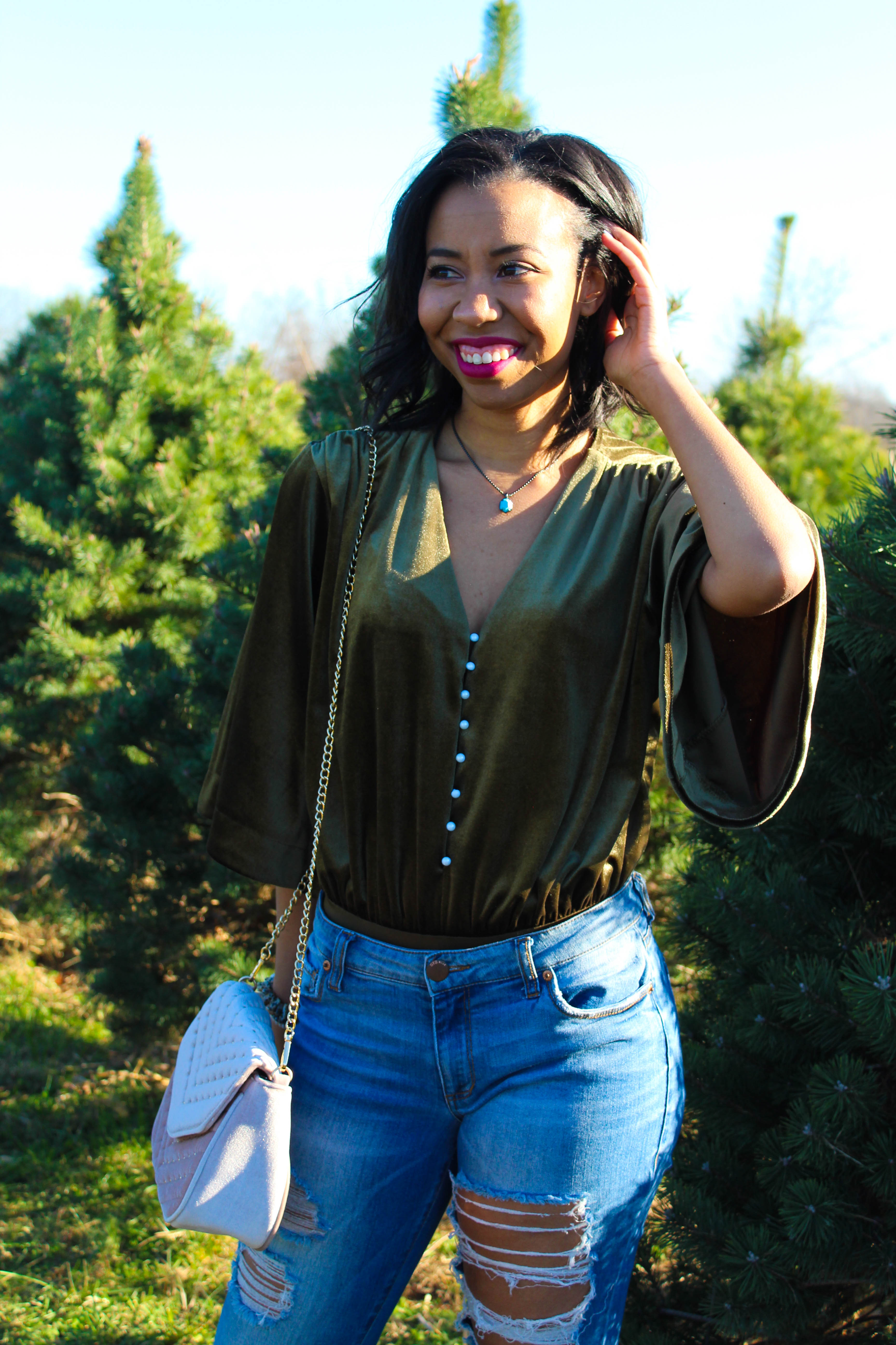 A casual velvet outfit for the fall to winter transition plus tips for dealing with the holiday blues and practicing self-care on a budget from southern fashion blogger, What Nicole Wore. // v neck bodysuit, day to night outfit, weekend outfits to recreate, easy going out outfit, how to wear a bodysuit, tom ford velvet violet lipstick