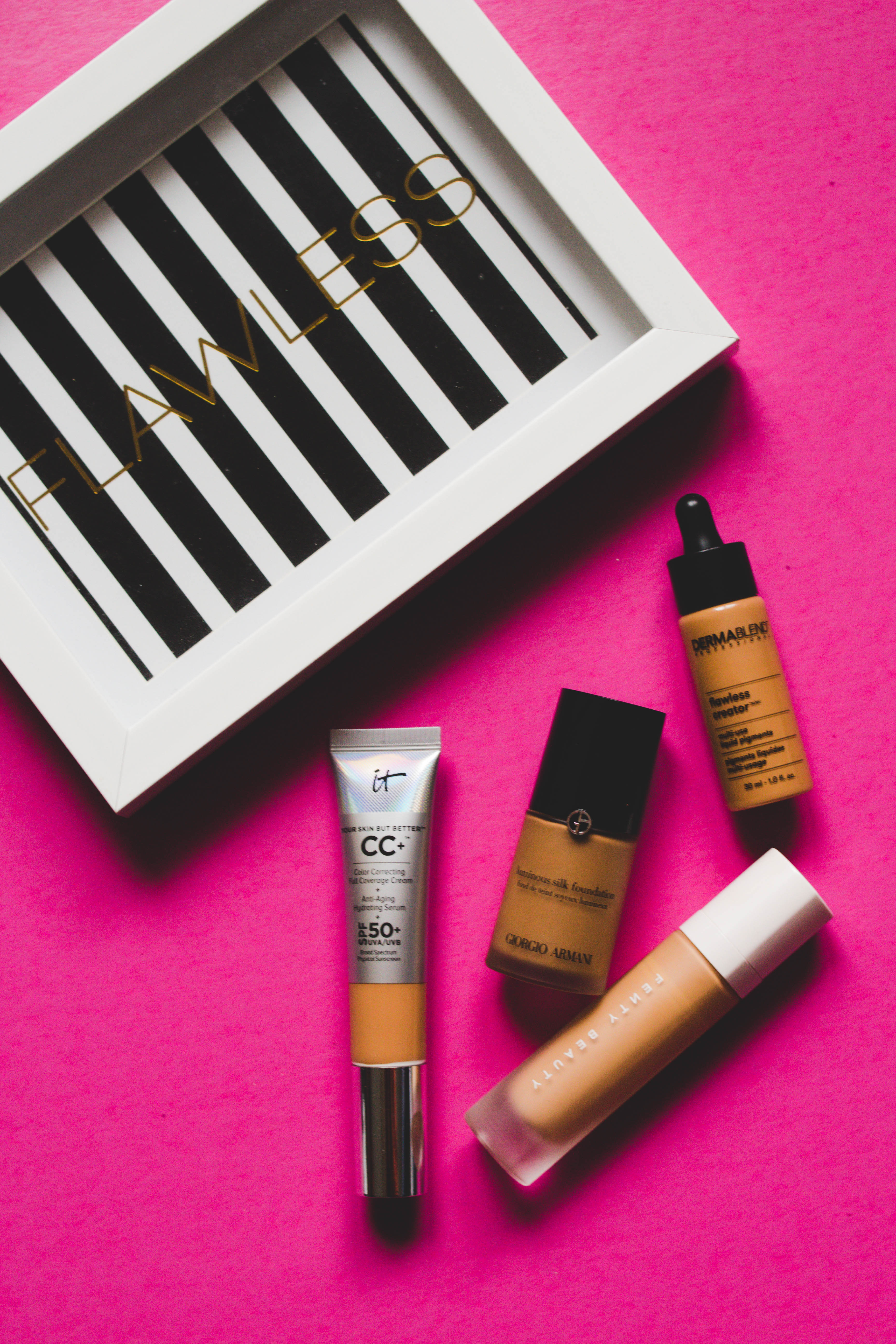 The best beauty products for to get a beat face PLUS reviews of similar products and how they work on oily combination skin from Kentucky blogger, What Nicole Wore. // best foundations for oily skin, armani foundation review, fenty beauty product review, it cosmetics cc+ cream, dermablend foundation drops