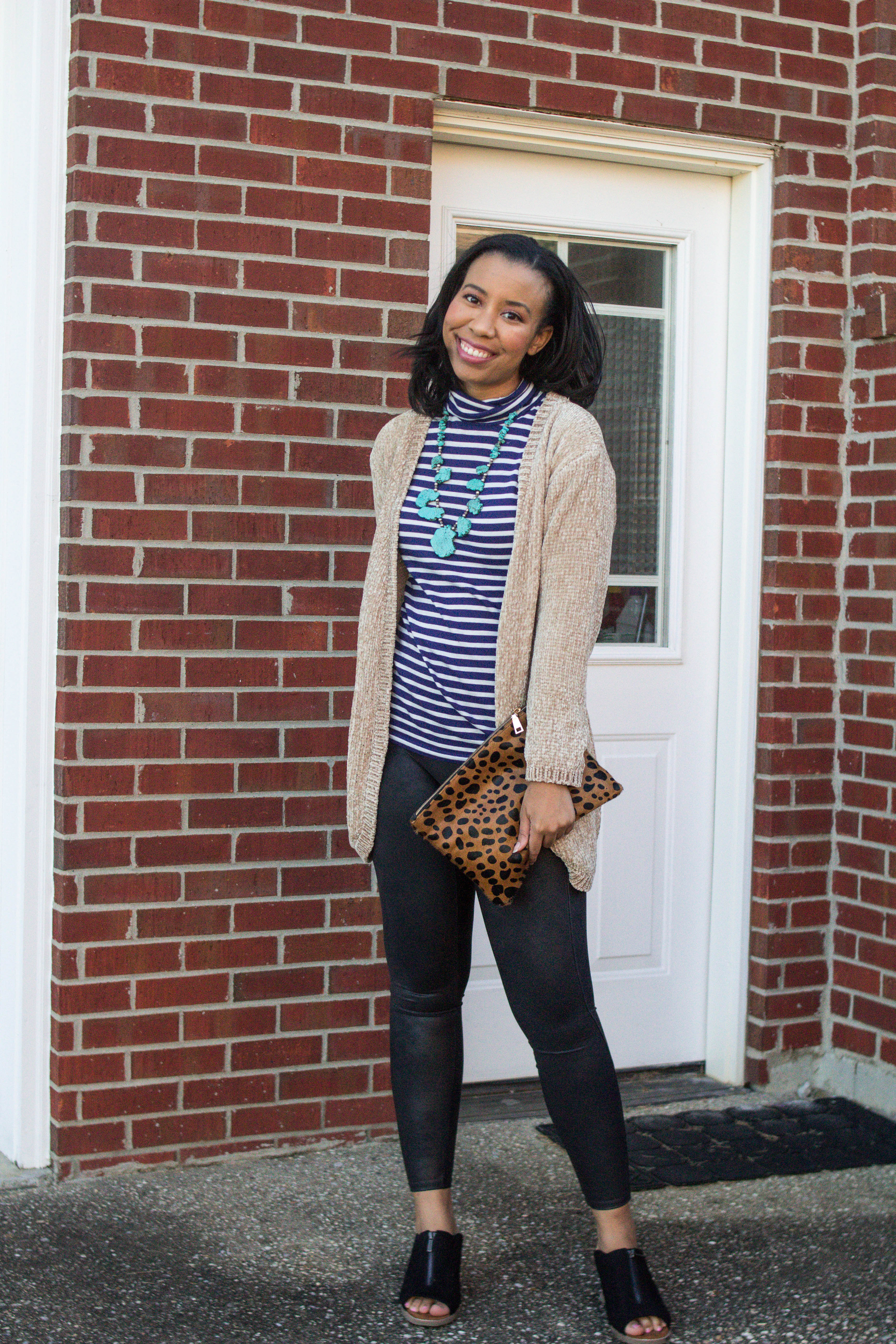 Popular Louisville blogger, What Nicole Wore, shows how to take ten wardrobe staples and create twenty fall outfits with a fall capsule wardrobe. // faux leather leggings, black leggings outfit ideas, spanx leggings best leather leggings, gordmans outfit finds, striped turtleneck outfit inspiration, chenille sweater look, chenille cardigan outfit
