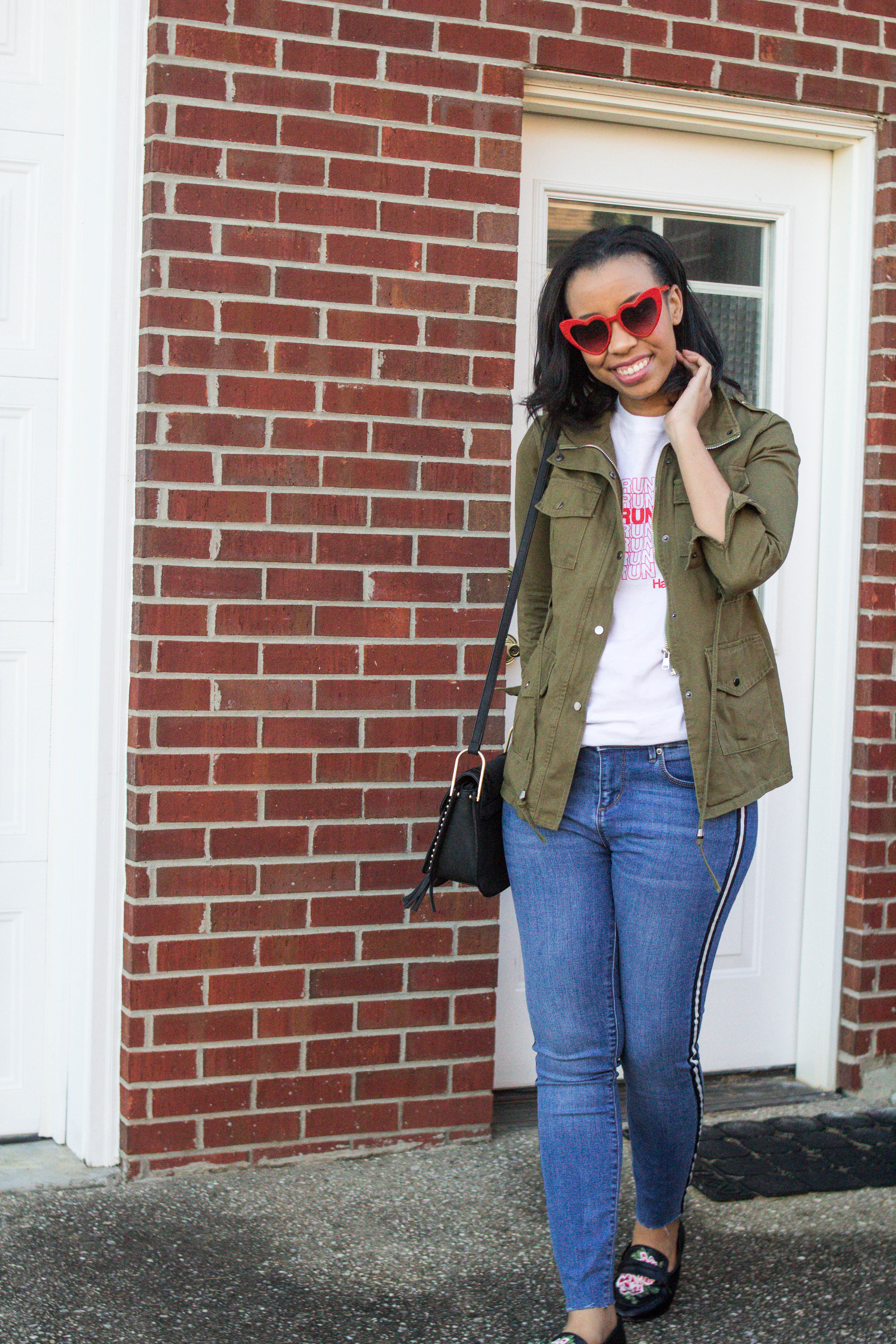Popular style blogger, What Nicole Wore, shows how to take ten wardrobe staples and create twenty fall outfits with a fall capsule wardrobe. // tuxedo stripe skinny jeans, easy fall outfit ideas, heart sunglasses, red heart sunglasses, target clothing ideas