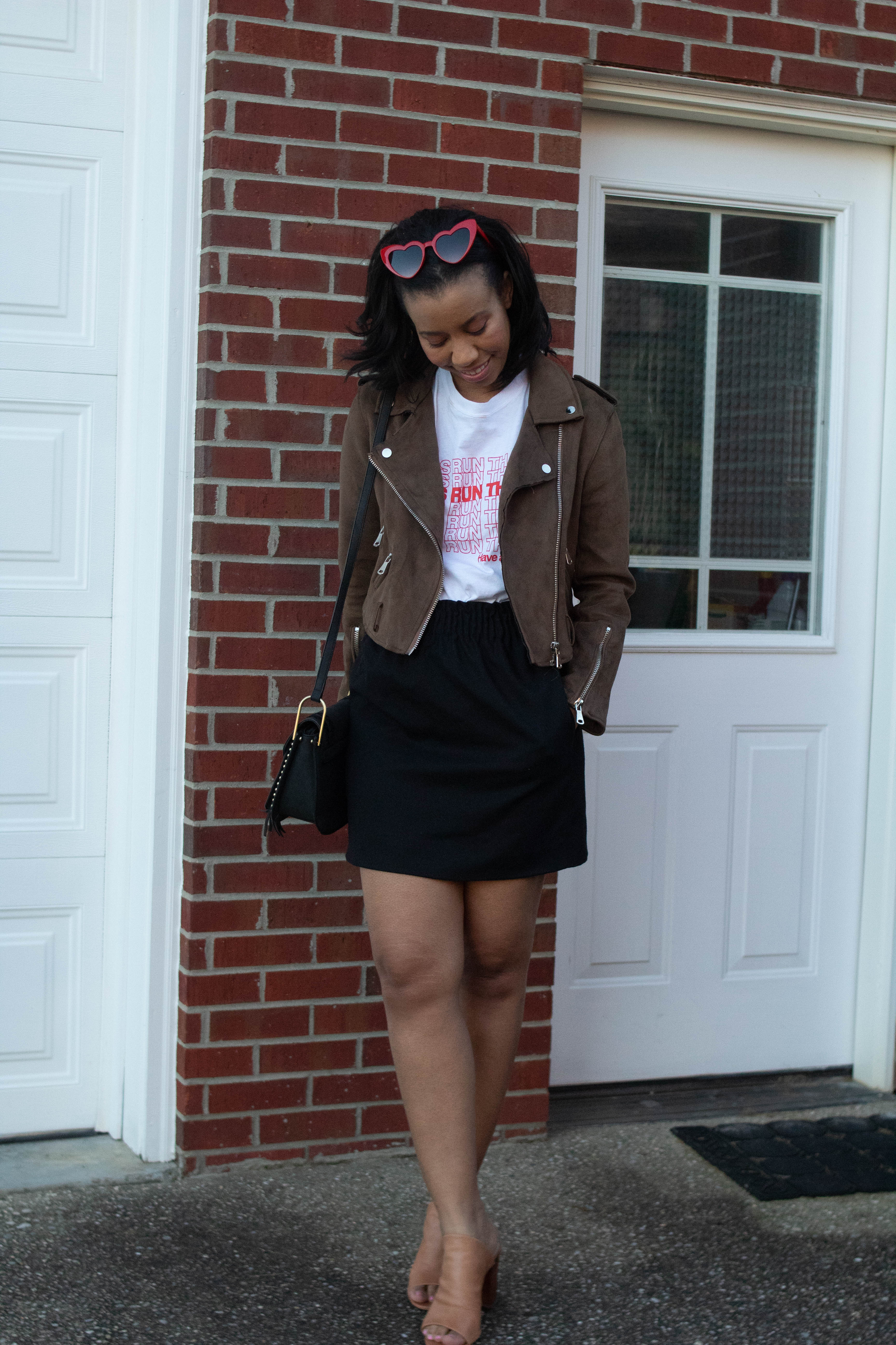 Popular style blogger, What Nicole Wore, shows how to take ten wardrobe staples and create twenty fall outfits with a fall capsule wardrobe. // kentucky blogger, louisville fashion blog, designer inspired sunglasses, black mini skirt outfit, j crew outfits, moto jacket inspiration fall outfit ideas