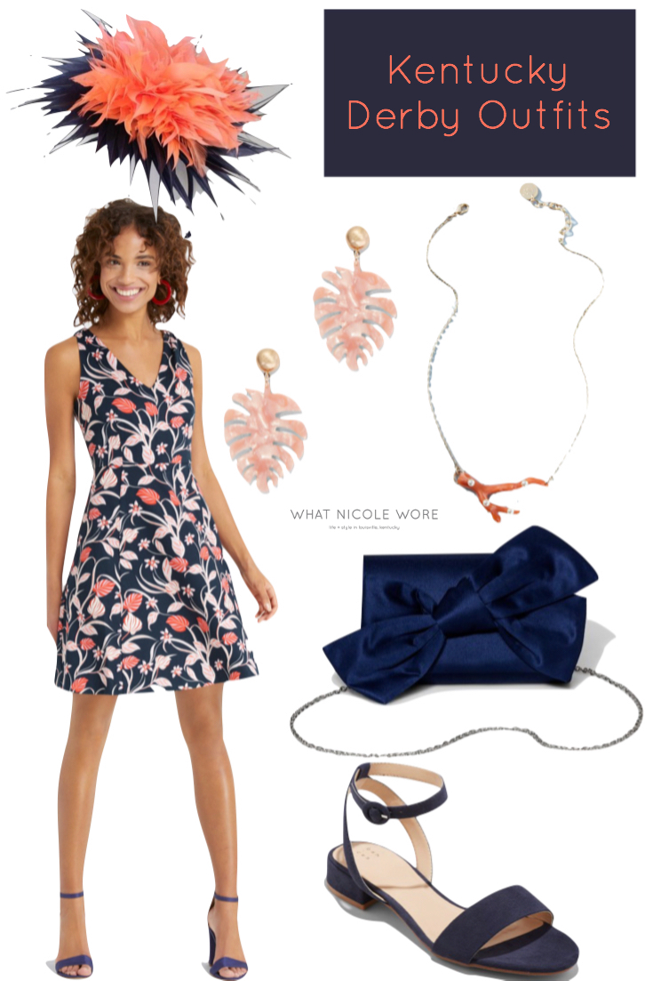 Louisville style blogger, What Nicole Wore, gives a number of affordable 2019 Kentucky Derby outfits that are perfect for spring occasions. // navy and coral dress outfit, the hat girls, navy fascinator, kentucky derby hat, coral fascinator derby, palm print earrings resin earrings, navy low heel sandals