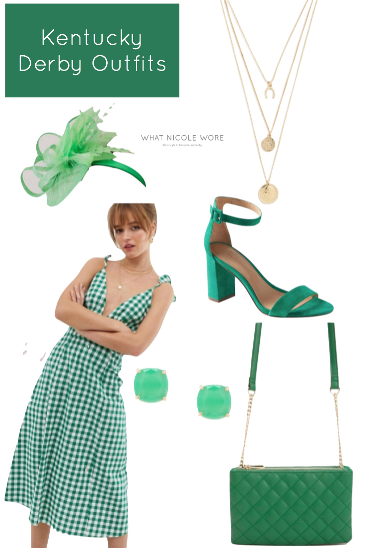 Louisville style blogger, What Nicole Wore, gives a number of affordable 2019 Kentucky Derby outfits that are perfect for spring occasions. // green gingham dress, midi dress outfit, green dress outfit ideas, what to wear to kentucky derby, kentucky oaks outfits, Churchill downs outfit, summer wedding what to wear, asos dress