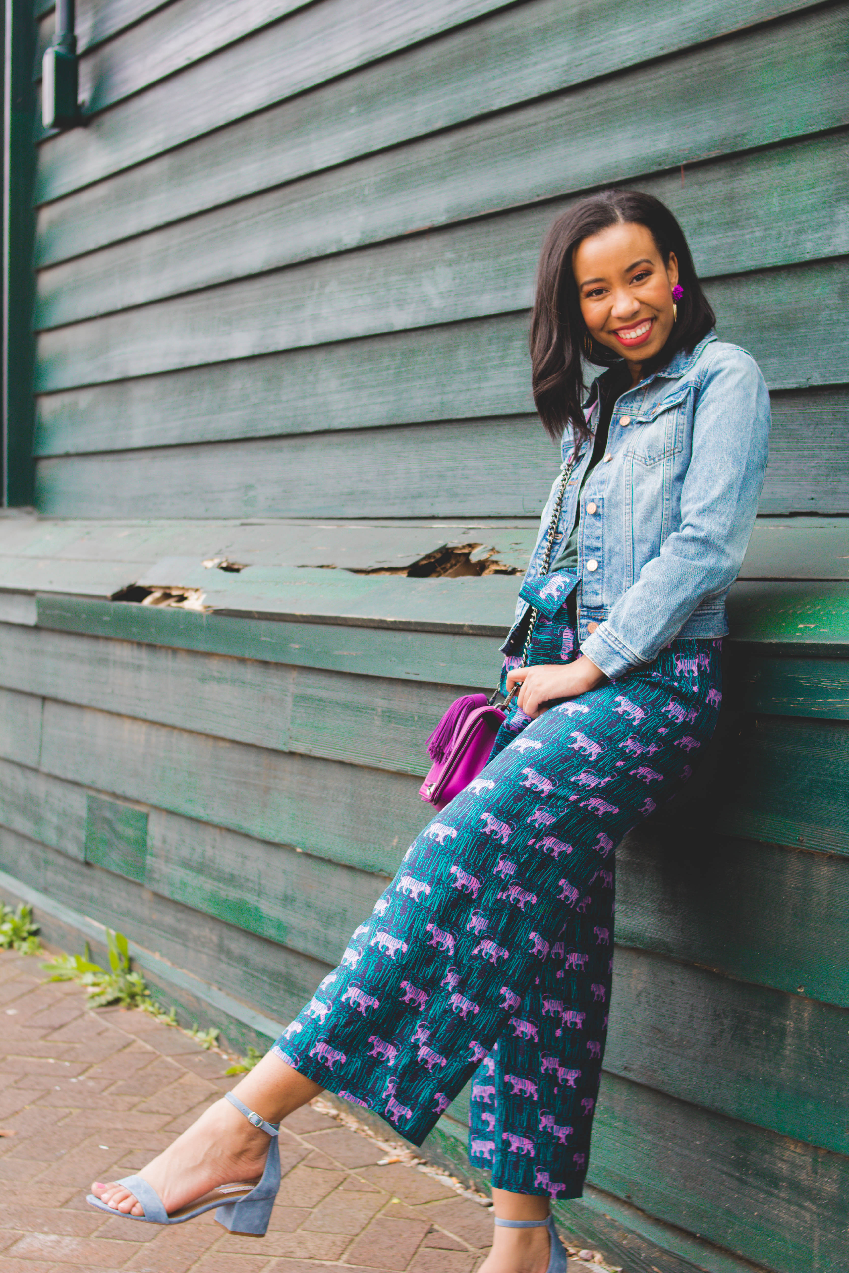 Have you tried the silk paperbag pants trend yet? Kentucky blogger, What Nicole Wore, shares how to wear them casually plus why everyday racism is an issue. // steve madden shoes, jean jacket outfits spring, silk pants spring outfit, jcrew 2019 outfit