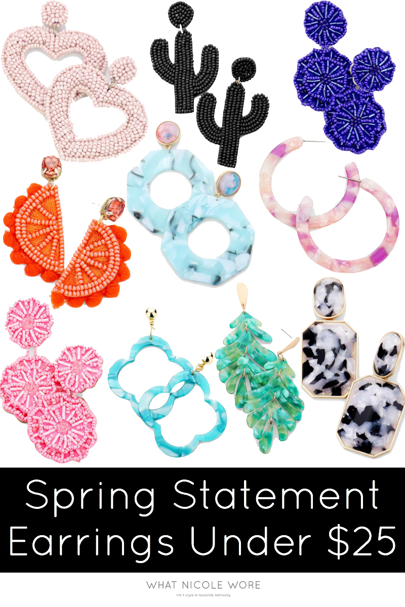 Kentucky lifestyle blogger, What Nicole Wore, shares 10 pairs of spring statement earrings, how to wear them, and a 30% discount code. // ten and two shop, cheap statement earrings, summer jewelry trends, spring statement earrings pink
