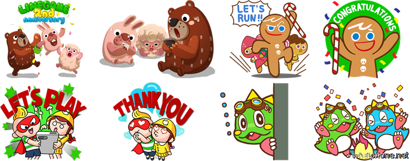 LINE GAME Thanks You for 2 Years! Sticker set