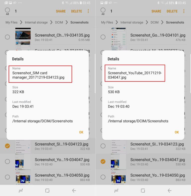 Samsung Oreo screenshot naming