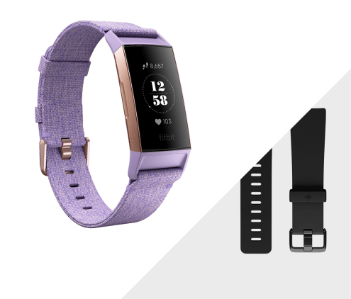 Fitbit charge 3 lavender rose gold aluminum