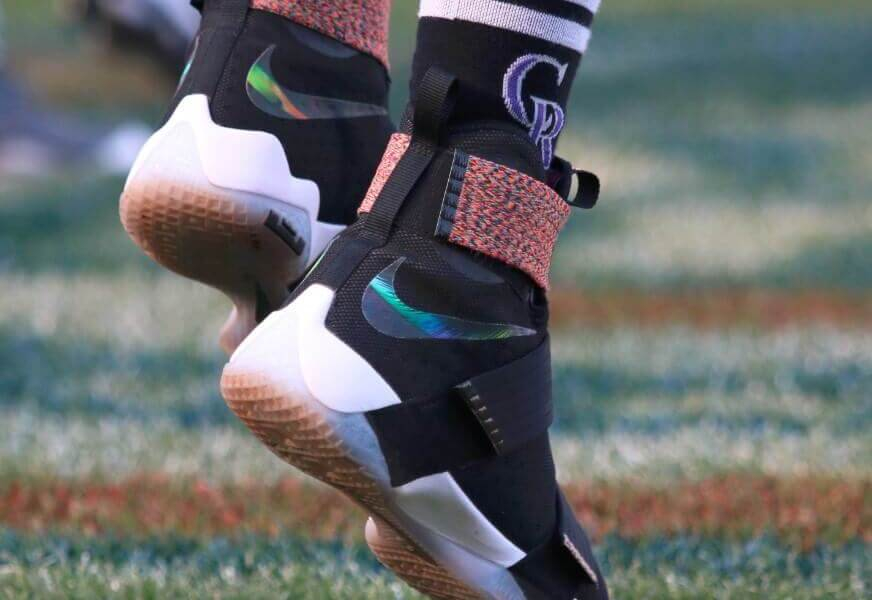 6553e63db163 What Pros Wear  Trevor Story s Nike LeBron Soldier 10 Shoes - What ...