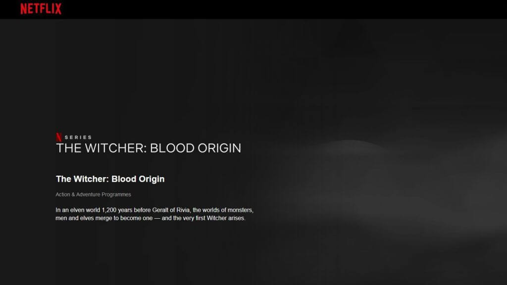netflix page for the witcher blood origin