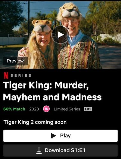 tiger king 2 listed in app