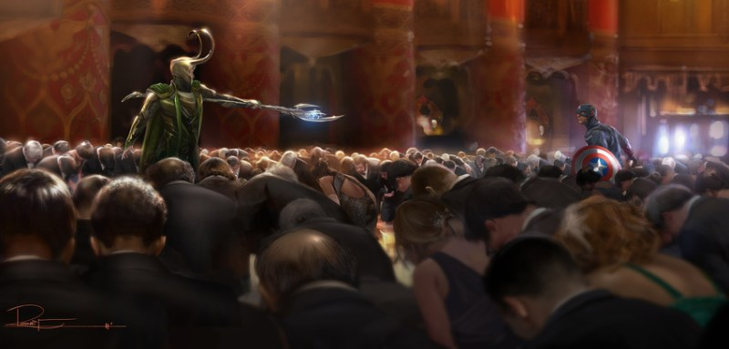 LOKI VS. CAPTAIN AMERICA. Concept art by Rodney Fuentebella. Property of Marvel Studios.