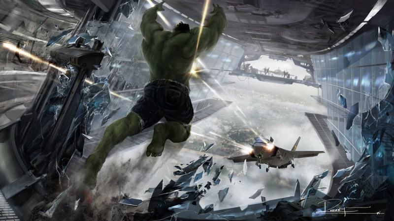 HULK VS. JET. Concept art by Rodney Fuentebella. Property of Marvel Studios.