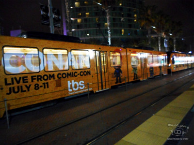 One of San Diego's Trolleys, and it's stationed just in front of the convention center. (c) WAG