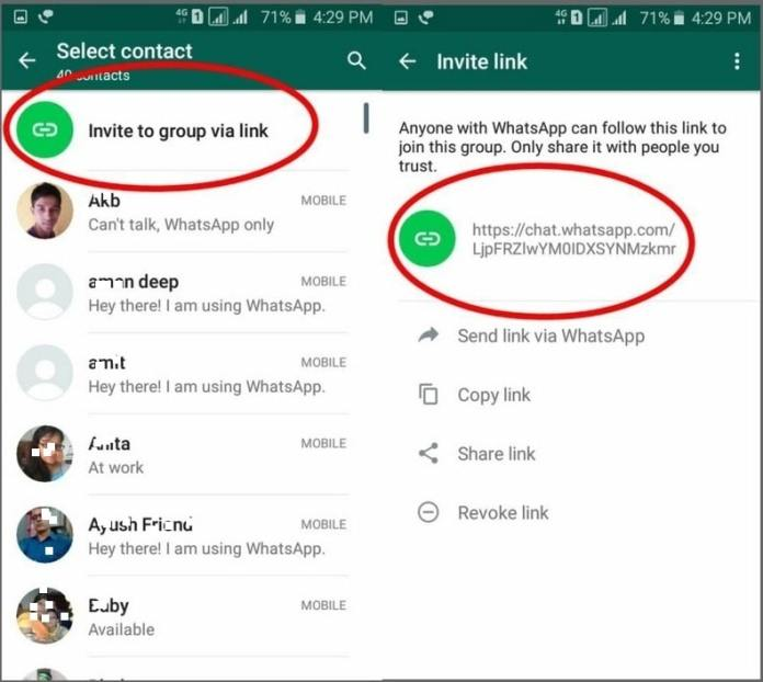 Inviting into groups via links