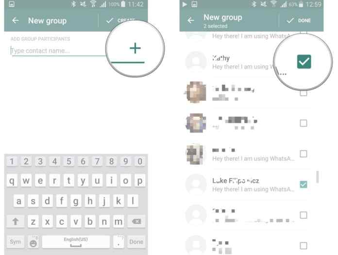 select contacts to add to the group