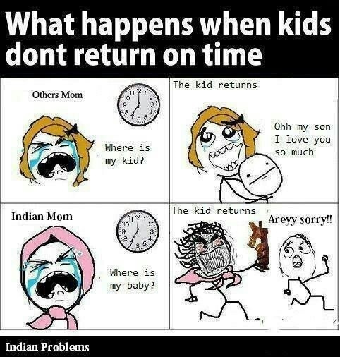 Best Indian Parents funny meme and Trolls !!! Indian Mom vs Other countries Mom :  What happens when kids dont return on time..