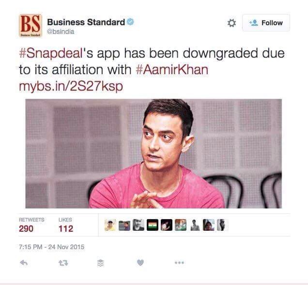 Appwapsi - Snapdeal paying price for Aamir Khan Controversial comment on Intolerance