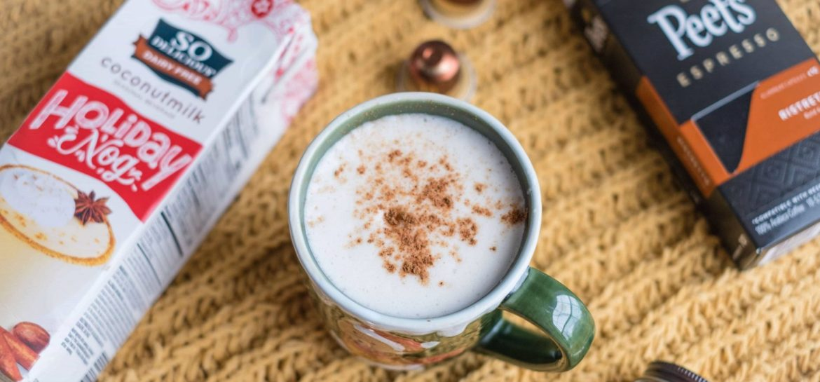 4 Easy, Festive Drinks To Make This Holiday Season #whatsavvysaid #christmas #holidayseason #holidayfood #holidaydrinks #dairyfree #sodelicious #holidaynog #eggnoglatte #coconuteggnog
