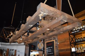 Self-made pallet 'chandelier'