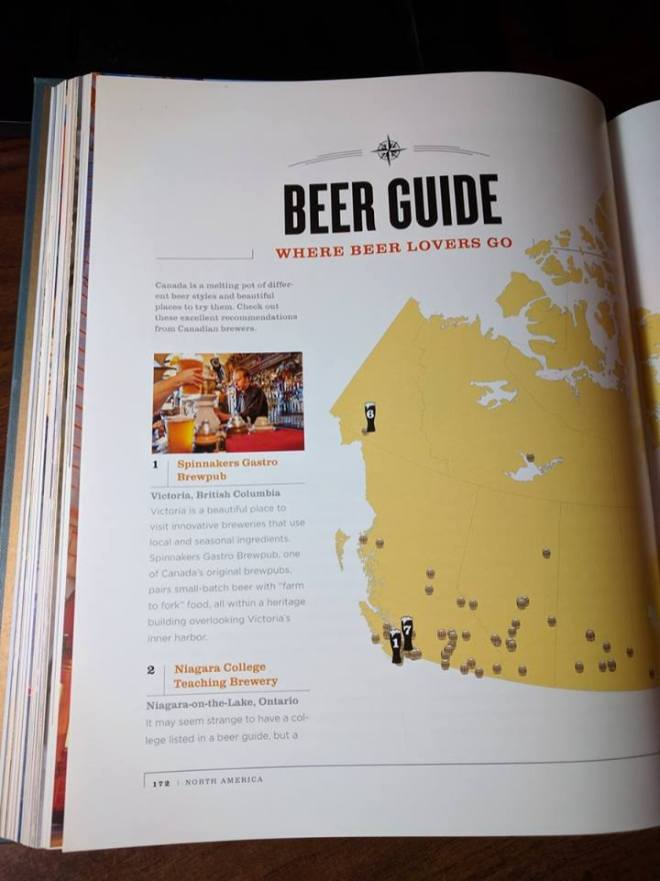 Page from National Geographic Atlas Of Beer. Spinnakers Brewpub, we see you there