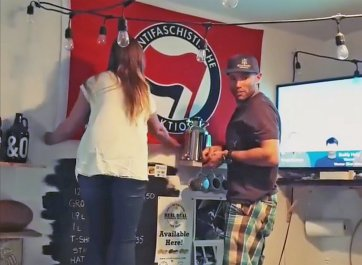 Oct 2017 - Kelowna's Boundary Brewing attacked by hate groups over anti-Nazi flag; community shows support