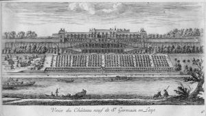 And etching of the castle and grounds of the court of Queen Henrietta Maria.