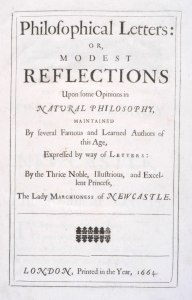 Title page of Modest Reflections by Margaret Cavendish, Duchess of Newcastle