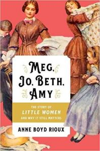 The cover of Meg, Jo, Beth and Amy features a 19th century illustration of the sisters, each wearing hoopskirt dresses of varying colors.