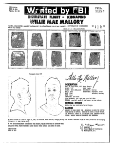 """A wanted poster for Willie Mae Mallory, displaying her fingerprints and a poorly outlined photograph/sketch of her, along with identifying information. The top line reads """"Wanted by FBI."""""""