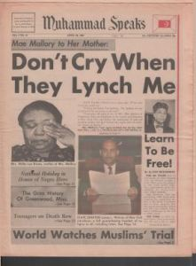 """Front page from """"Muhammed Speaks,"""" a Black Nationalist newspaper. Text reads """"Don't cry when they lynch me: Mae Mallory to her mother."""" It shows a picture of a Black woman wiping away tears."""