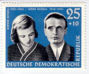 Black and white drawings of the siblings on a blue background, postage stamp.
