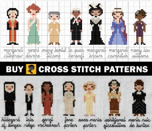 cross stitch patterns and completed stitches of the women featured in the podcast