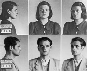 Mug shots of a young woman and a young man. She wears a dark dress with large collar and has her shoulder-length hair down, he wears a light suit and vest. They each stare defiantly at the camera.
