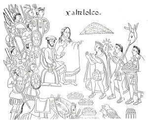 A group of indigenous leaders sits while Cortez and Malintzin stand and address them. Line drawing style image.